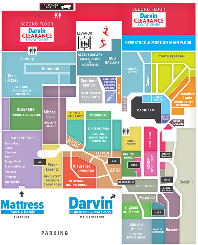 Store Map Darvin Furniture Orland Park Chicago IL Furniture Store